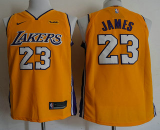 huge selection of 4c0c0 e2d1a Men's Los Angeles Lakers #23 LeBron James Yellow 2017-2018 ...