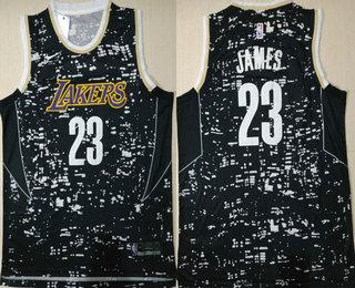 release date 03dda 19ce6 Men's Los Angeles Lakers #23 Lebron James Black City ...