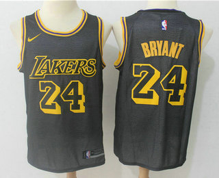 3e8e0a93402a Men s Los Angeles Lakers  24 Kobe Bryant Black 2017-18 Nike City Edition  Swingman