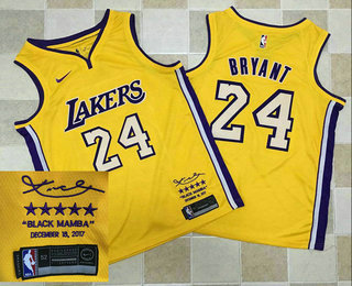 the latest 81de5 aac95 Men's Los Angeles Lakers #24 Kobe Bryant New Yellow 2017 ...