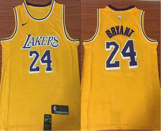 f9dec0e3796 Men's Los Angeles Lakers #24 Kobe Bryant Yellow 2018-2019 Nike Swingman  Stitched NBA