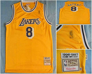 competitive price 4e81e 39757 Men's Los Angeles Lakers #8 Kobe Bryant 1996-97 Yellow ...