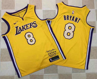 14e9928c27d Men s Los Angeles Lakers  8 Kobe Bryant New Yellow 2017-2018 Nike Swingman  Black Mamba Limited Edition Retirement Stitched NBA Jersey