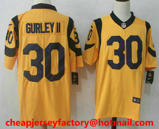 817ec4f40 ... mens los angeles rams 30 todd gurley gold 2016 color rush stitched nfl  nike limited