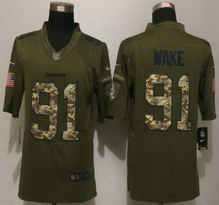pretty nice 8f463 3f083 Men's Miami Dolphins #91 Cameron Wake Green Salute to ...