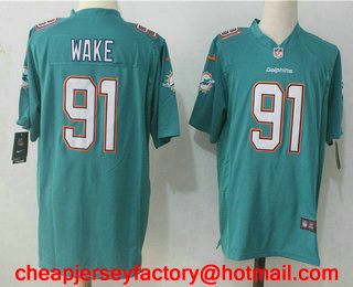 c1adefd40 Men s Miami Dolphins  91 Cameron Wake Green Team Color Stitched NFL Nike  Game Jersey