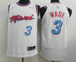 sports shoes 3677e d434f Men's Miami Heat #3 Dwyane Wade White 2017-18 Nike City ...