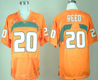 save off 0d734 ea415 Men's Miami Hurricanes #20 Ed Reed Orange College Jersey
