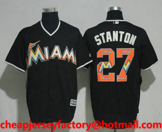 7fb428b10 Men s Miami Marlins  27 Giancarlo Stanton Black Team Logo Ornamented  Stitched MLB Cool Base Jersey