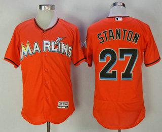 official photos 93bda 27656 Men's Miami Marlins #27 Giancarlo Stanton Orange Stitched ...