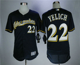 Men s Milwaukee Brewers  22 Christian Yelich Navy Blue Milwaukee Stitched  MLB Majestic Flex Base Jersey 8e83f76ea