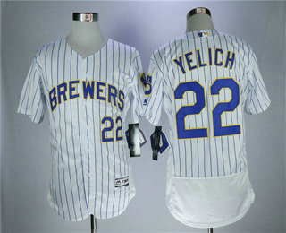 29046d23068 ... low price 21 alternate cool mens milwaukee brewers 22 christian yelich  white pinstripe home stitched mlb