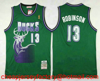 102ef3a6f Men s Milwaukee Bucks  13 Glenn Robinson Green Hardwood Classics Soul Swingman  Throwback Jersey