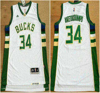 572b69512 ... Mens Milwaukee Bucks 34 Giannis Antetokounmpo Revolution 30 Swingman  2015 New White Jersey ...