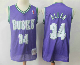 online retailer 96770 1e79b Men's Milwaukee Bucks #34 Ray Allen Purple Hardwood Classics ...