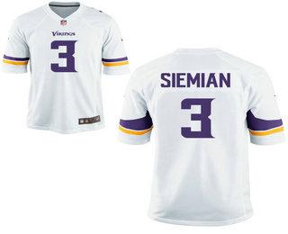 buy online c094e e76f8 Men's Minnesota Vikings #3 Trevor Siemian White Road ...