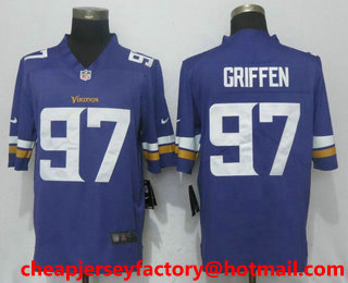 4cc6e67b157 Men s Minnesota Vikings  97 Everson Griffen Purple 2017 Vapor Untouchable  Stitched NFL Nike Limited Jersey