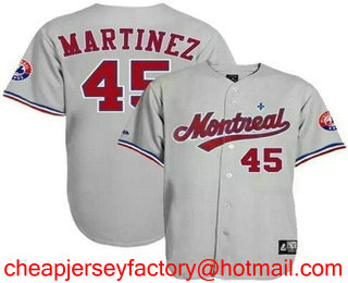 Men s Montreal Expos  45 Pedro Martinez Gray Road Throwback Stitched MLB  Cooperstown Collection Jersey c12f99041