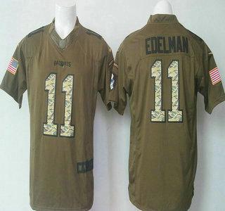 a2ce6b3127d Men s New England Patriots  11 Julian Edelman Green Salute to Service 2015  NFL Nike Limited