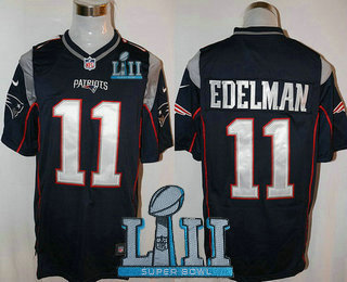 db968075a Men s New England Patriots  11 Julian Edelman NEW Navy Blue Team Color 2018 Super  Bowl LII Patch Stitched NFL Nike Game Jersey