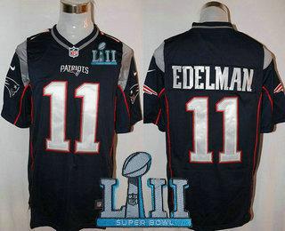 Men s New England Patriots  11 Julian Edelman NEW Navy Blue Team Color 2018  Super Bowl LII Patch Stitched NFL Nike Game Jersey 88b50d528