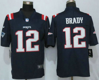 premium selection 2a8f3 a247f Men's New England Patriots #12 Tom Brady Navy Blue 2016 ...