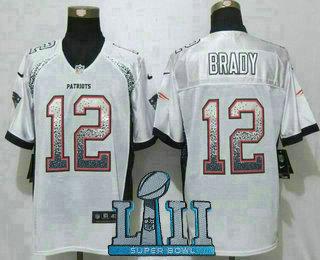 852698893 Men s New England Patriots  12 Tom Brady White 2018 Super Bowl LII Patch  Drift Stitched NFL Nike Fashion Jersey