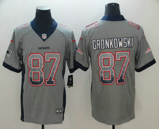 outlet store 34fa5 cb879 Men's New England Patriots #87 Rob Gronkowski Grey 2018 ...