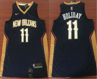57754758f50 usa mens new orleans pelicans 11 jrue holiday new navy blue 2017 2018 nike  swingman stitched