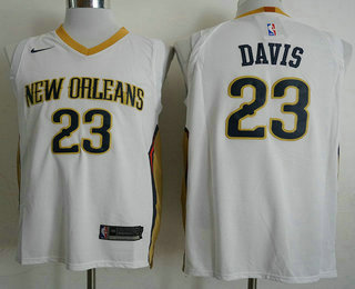 64e87730d ... Swingman Stitched NBA Jersey   21. Men s New Orleans Pelicans  23  Anthony Davis New White 2017-2018 Nike Authentic Stitched