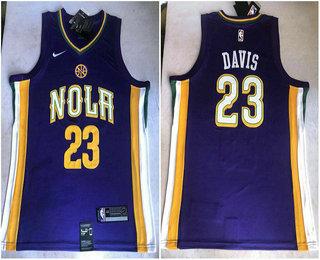 3faa5a64042d Men s New Orleans Pelicans  23 Anthony Davis Purple 2017-2018 Nike Swingman  Stitched NBA Jersey
