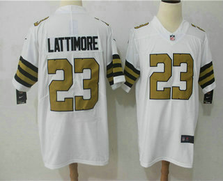 reputable site 5162b 69fa9 Men's New Orleans Saints #23 Marshon Lattimore White 2016 ...