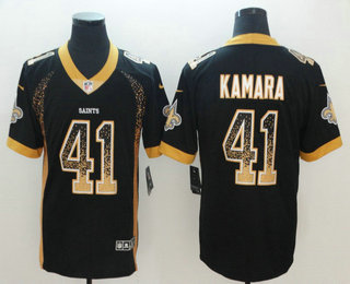 Men s New Orleans Saints  41 Alvin Kamara Black 2018 Fashion Drift Color  Rush Stitched NFL Nike Limited Jersey ef89710f8