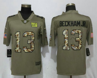 71b59711635f77 Men's New York Giants #13 Odell Beckham Jr Olive With Camo 2017 Salute To  Service Stitched NFL Nike Limited Jersey