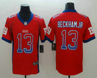 super popular bedf3 6f639 Men's New York Giants #13 Odell Beckham Jr Red 2018 Fashion ...