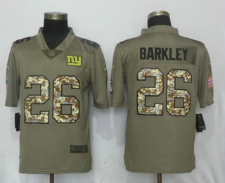 Men s New York Giants  26 Saquon Barkley Olive With Camo 2018 Salute To  Service Stitched NFL Nike Limited Jersey b3aa79010