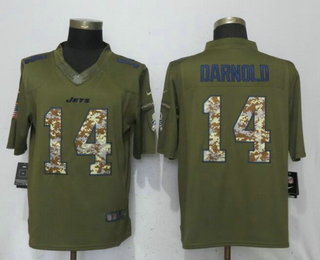 15c0afc92 Men s New York Jets  14 Sam Darnold Green Salute To Service Stitched NFL  Nike Limited