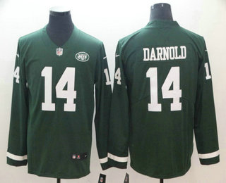 946af99cb Men s New York Jets  14 Sam Darnold Nike Green Therma Long Sleeve Limited  Jersey
