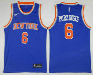 Men s New York Knicks  6 Kristaps Porzingis Blue 2017-2018 Nike Icon  Edition Swingman Jersey db43b8625
