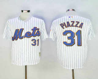 f54d3771f Men's New York Mets #31 Mike Piazza White Pinstripe Mitchell & Ness  Throwback Jersey