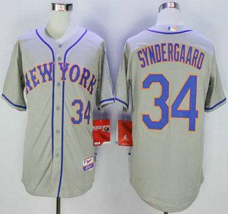 mens new york mets 34 noah syndergaard grey road cool base jersey