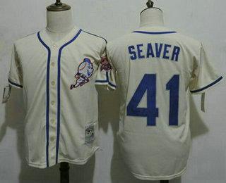 baseball jerseys cream mens new york mets 41 tom seaver cream 1969 world series patch mlb cooperstown jersey