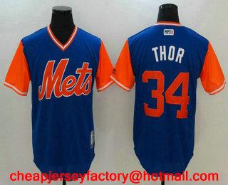 28e023e93 Men's New York Mets Noah Syndergaard #34 Thor Navy 2017 Little League World  Series Players