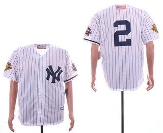 buy online 13de7 1e601 Men's New York Yankees #2 Derek Jeter White with 2001 World ...