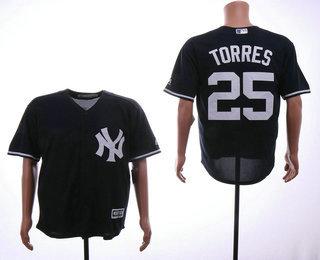 67e0fd35499 Men s New York Yankees  25 Gleyber Torres Navy Blue Stitched MLB Cool Base  Jersey