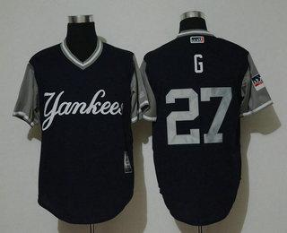 pretty nice 9e74e 6bdbd Men's New York Yankees #27 Giancarlo Stanton G Navy 2018 ...