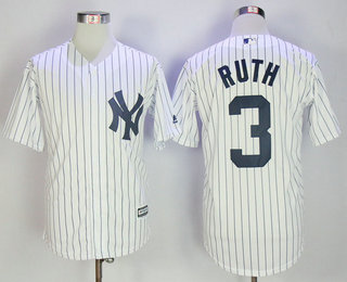 221d88c7121 Men s New York Yankees  3 Babe Ruth Retired Name White Home Cool Base  Baseball Jersey