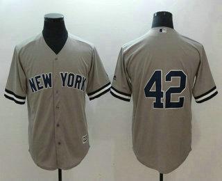 sports shoes 693bf 0bf8e Men's New York Yankees #42 Mariano Rivera No Name Gray Road ...