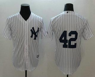 separation shoes c4b70 7742f Men's New York Yankees #42 Mariano Rivera No Name White Home ...