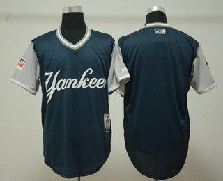 5152cbda9 Men s New York Yankees Blank Navy 2018 LLWS Players Weekend Stitched  Nickname Jersey